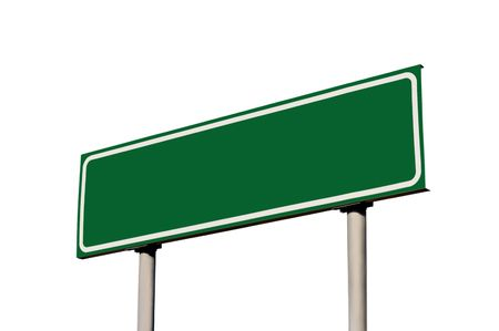 high street: Blank Green Road Sign Isolated Stock Photo