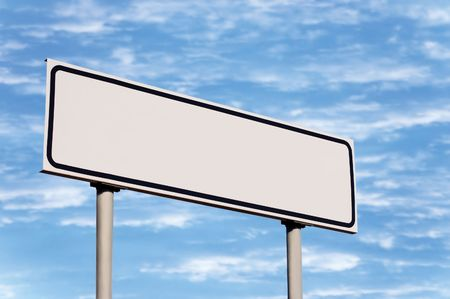 Blank road sign against sky; simply put your text there Stock Photo - 5599283