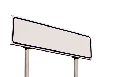 galvanised: Blank Road Sign Isolated on White Stock Photo
