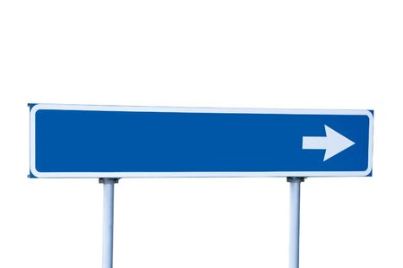 endorsement: Blue Road Sign, Isolated on White