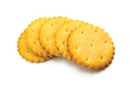Cracker Close-up, isolated on white photo