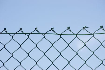New wire security fence over sky photo