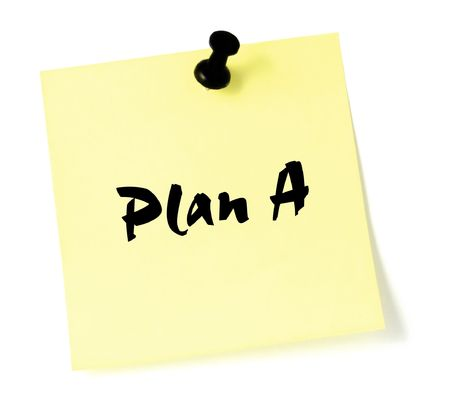 thumbtacked: Plan A, written on a sticky note Stock Photo