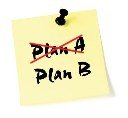 listing: Tachando el Plan A, Plan B por escrito Foto de archivo