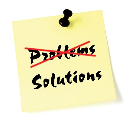 Crossing out problems, writing solutions Stock Photo