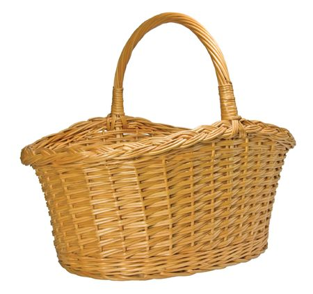 Half-Split Splint Willow Wicker Basket, Isolated photo