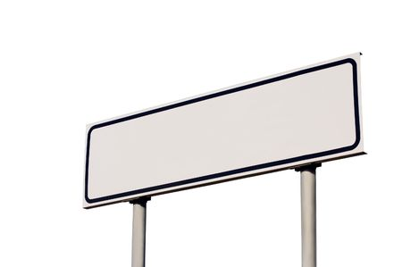 Blank road sign with frame, isolated Stock Photo - 5994154