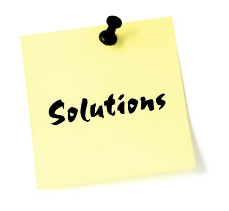 Solutions, written on a sticky note photo