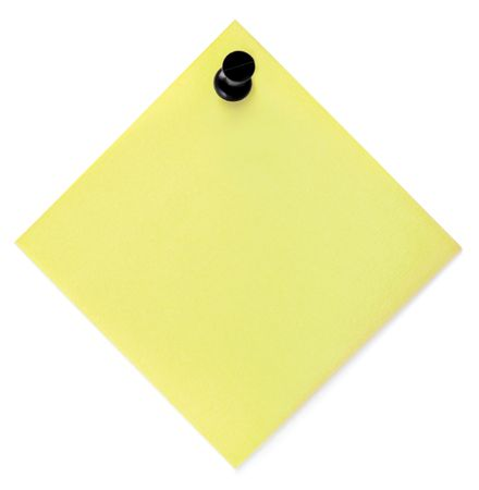 thumbtacked: Blank Yellow To-Do List With Black Pushpin