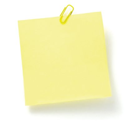 Blank Yellow To-Do List with paperclip, isolated on white photo