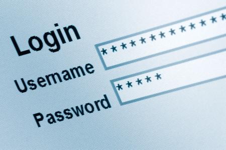 lösenord: Website Login Screen Macro Capture, Medium Blue