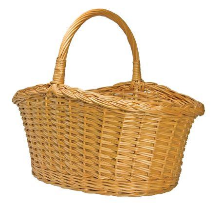 Half-Split Splint Willow Wicker Basket, Isolated photo
