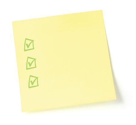 todo list: Blank Yellow To-Do List with checklist, isolated on white
