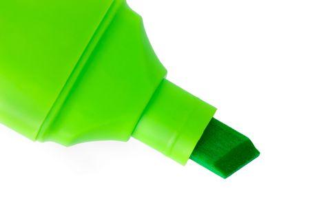 Green marker macro closeup, isolated on white photo