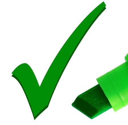 match box: Macro close-up of green pen, checking OK tick mark Stock Photo