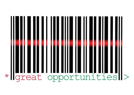 Scanning Great Opportunities Barcode Macro Closeup, Isolated On White photo
