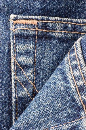 Denim blue jeans pocket, detailed macro closeup photo