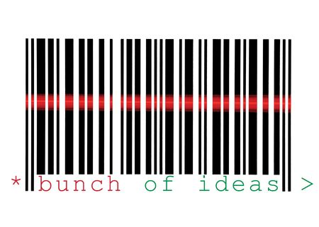 Scanning Bunch of Ideas Barcode Macro Closeup, Isolated On White photo