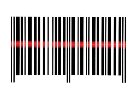 barcode scanner: Scanning Empty Barcode Macro Closeup, Isolated On White Stock Photo