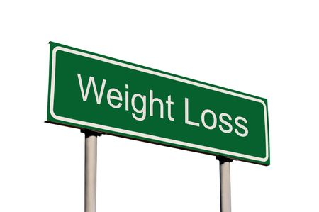 Weight Loss Green Road Sign, Isolated On White Background Stock Photo - 6345064