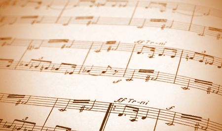partition: Written Music Sheet In Sepia, Shallow DOF