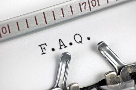 Typewriter large macro closeup, typing FAQ Stock Photo - 6552271