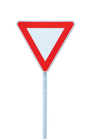 europe closeup: Give way priority yield road traffic roadsign sign, isolated
