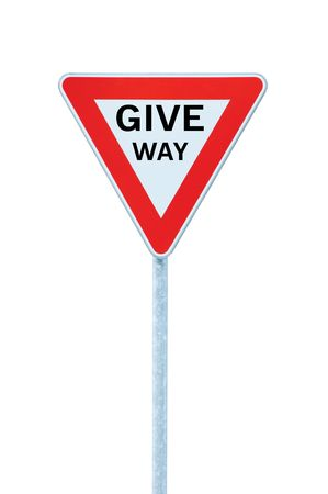 Give way priority yield road traffic roadsign sign with text, isolated photo