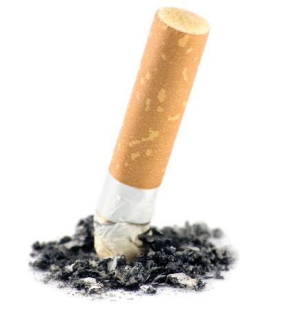 Cigarette  macro, isolated on white photo
