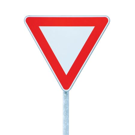 priority: Give way priority yield road traffic roadsign sign, isolated