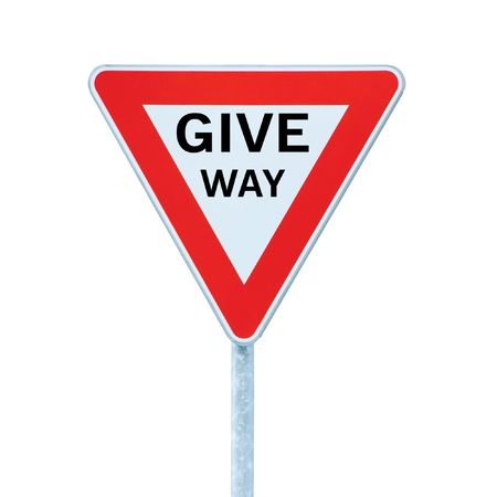 Give way priority yield road traffic roadsign sign, isolated Stock Photo - 6809773