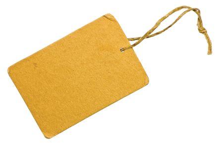 Blank Yellow Grunge Cardboard Sale Tag Label, Isolated Closeup Macro Stock Photo - 6809783