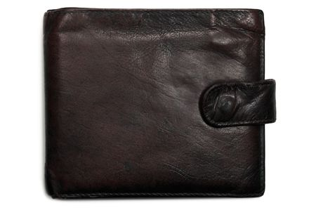 Old worn grungy reddish brownish black brown grunge leather wallet, isolated shadow photo