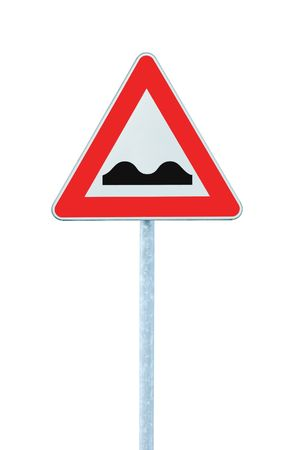 Uneven Road Sign With Pole, isolated on white photo