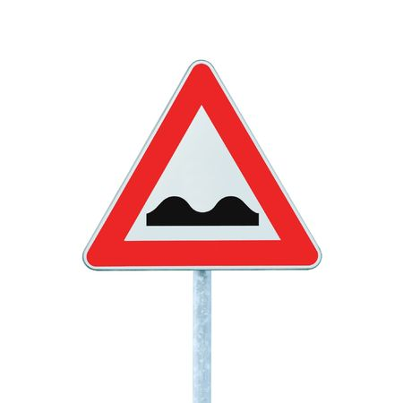 zoned: Uneven Road Sign With Pole, isolated on white Stock Photo