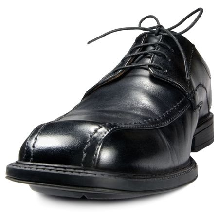 mens: Classic mens black club shoe, isolated wide angle macro closeup