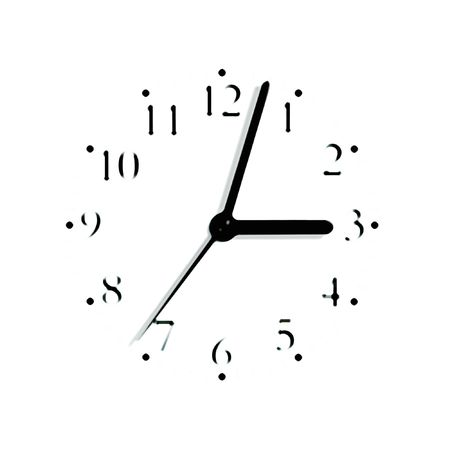 Abstract black and white analogue clock face dial reading 3:03 PM, isolated blurred macro silhouette photo