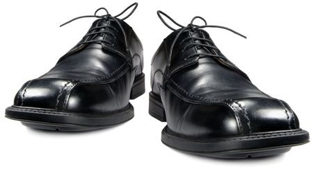 traditional dress: Classic mens black club shoe, isolated wide angle macro closeup