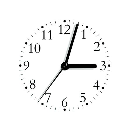 analogue: Black and white analogue clock face dial reading 3:03 PM, isolated macro Stock Photo