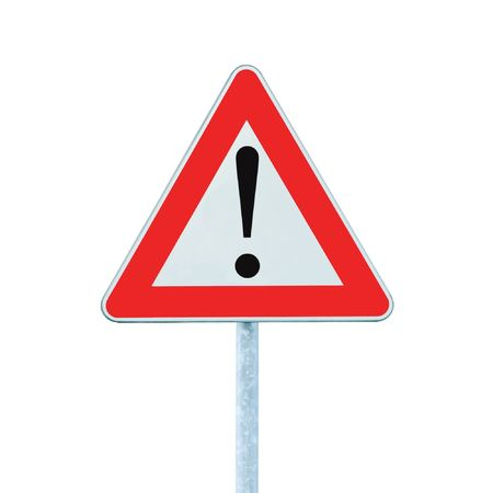 Other Danger Ahead Warning Road Sign With Pole, isolated Stock Photo - 7076063