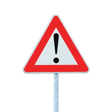 se�ales de precaucion: Otro peligro Ahead advertencia Road inicio de sesi�n con polo, aislado