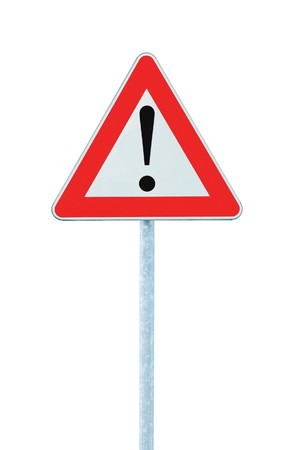 Other Danger Ahead Warning Road Sign With Pole, isolated Stock Photo - 7290847