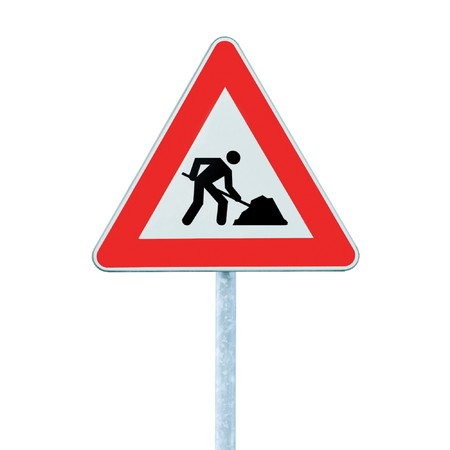 Road Works Ahead Warning Road Sign With Pole,  isolated under construction concept Stock Photo - 7290845