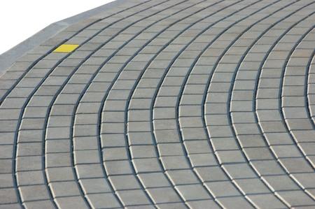 Cobblestone Pavement Texture With Yellow Brick, Isolated photo