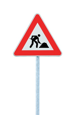 Road Works Ahead Warning Road Sign With Pole,  isolated under construction concept photo