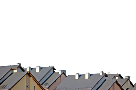 roof apartment: Rowhouse roofs panorama, isolated on white