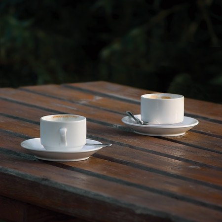 Two white empty espresso coffee cups on table, closeup Stock Photo - 7320565