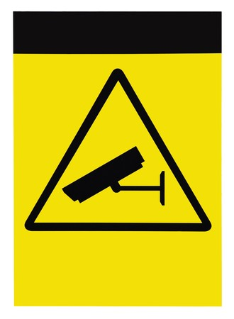trespasser: Blank protected by video surveillance sign, isolated Stock Photo