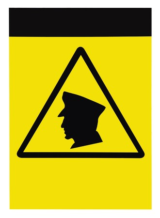 trespasser: Security guards on patrol warning sign, blank isolated