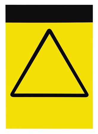 Blank customizable yellow black triangle general caution warning attention sign, isolated photo